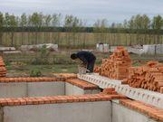 Каменщики в Воложине. Кладка кирпича и ГС - блоков